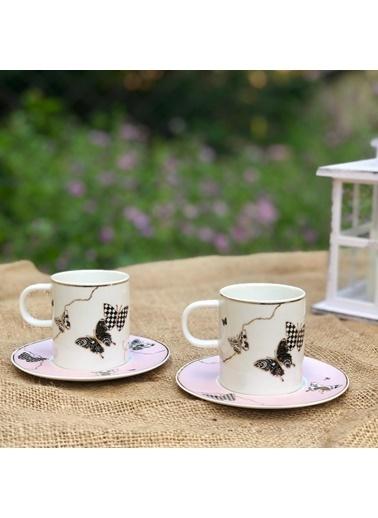 Acar Kelebek Desenli Pembe Kahve Fincan Takımı 6 Kişilik Renkli